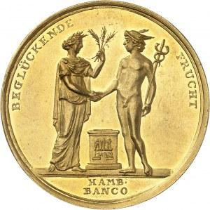 Consulat (1799-1804). Médaille d'Or (aussi Demi-portugalöser de 5 ducats) pour la Paix d'Amiens entre la France et l'Angleterre, par Abraham Abramson 1802, Berlin ?
