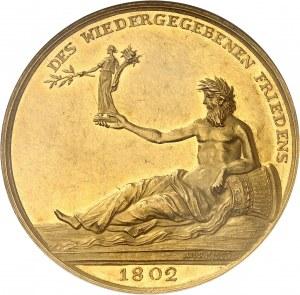 Consulat (1799-1804). Médaille d'Or (aussi Portugalöser de 10 ducats) pour la Paix d'Amiens entre la France et l'Angleterre, par Abraham Abramson 1802, Berlin ?