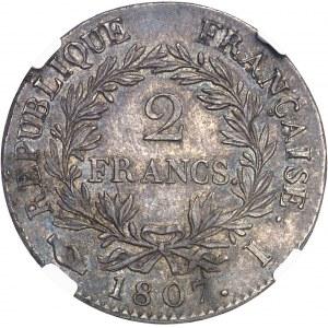 Premier Empire / Napoléon Ier (1804-1814). 2 francs tête nue, calendrier grégorien 1807, I, Limoges.