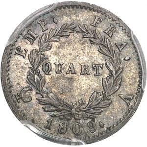 Premier Empire / Napoléon Ier (1804-1814). Quart de franc tête laurée, Empire français 1809, A, Paris.