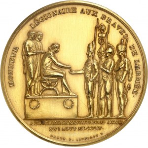 Premier Empire / Napoléon Ier (1804-1814). Médaille d'Or, serment de l'Armée d'Angleterre à Napoléon Ier au Camp de Boulogne 1804, Paris.