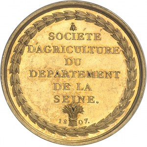 Premier Empire / Napoléon Ier (1804-1814). Médaille d'Or, Olivier de Serres et la Société d'Agriculture du département de la Seine 1807, Paris.