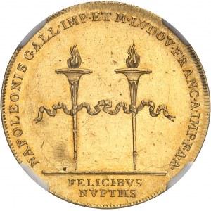 Premier Empire / Napoléon Ier (1804-1814). Jeton en Or, mariage de Napoléon Ier et de Marie-Louise par I. Harnisch et F. Zeichner 1810, Vienne.