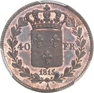 Louis XVIII (1814-1824). Essai du concours de 40 francs, par Tiolier 1815, A, Paris.