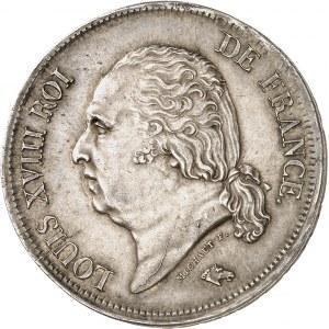 Louis XVIII (1814-1824). 5 francs buste nu, frappe fautée 1817, W, Lille.