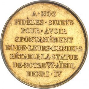 Louis XVIII (1814-1824). Médaille d'Or, rétablissement de la statue d'Henri IV sur le pont Neuf à Paris ND (1818), Paris.
