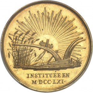 Louis XVIII (1814-1824). Médaille d'Or, Jean-François Rozier et la Société d'Agriculture, Histoire naturelle et Arts utiles de Lyon, avec attribution 1821 et 1822 (attribution), Paris.