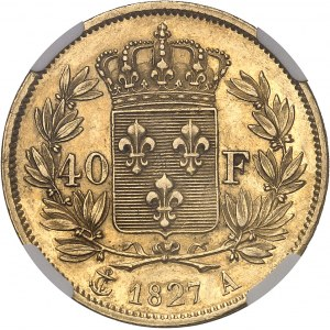 Charles X (1824-1830). 40 Francs, 2e type 1827, A, Paris.