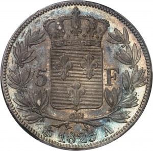 Charles X (1824-1830). 5 francs, 1er type 1825, A, variété avec le A inachevé, Paris.