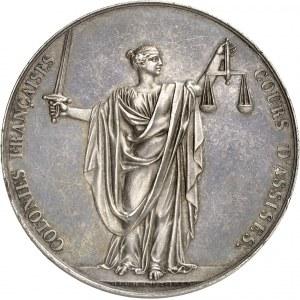 Charles X (1824-1830). Médaille, Cours d'assises des colonies 1828, Paris.