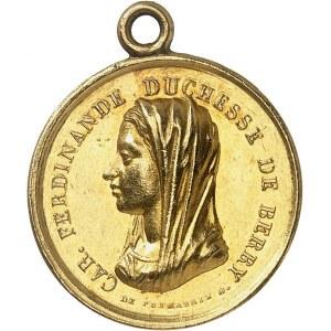 Henri V (1820-1883). Médaillette Or, le duc de Berry et la duchesse de Berry en deuil, par Gayrard ND (1820), Paris.