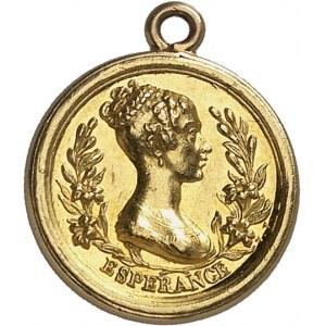 Henri V (1820-1883). Médaillette Or, le regretté duc de Berry et l'espérance en la duchesse de Berry, par Vivier ND (1820), Paris.