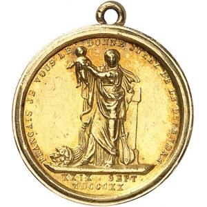 Henri V (1820-1883). Médaillette Or, la Providence donne le duc de Bordeaux à la France, par Domard ND (1820), Paris.