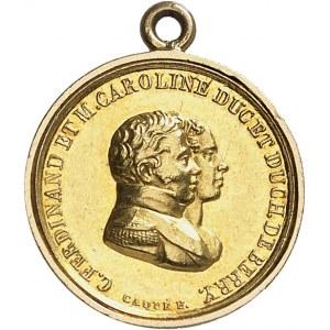 Henri V (1820-1883). Médaillette Or, pour sa naissance, Vivez pour le servir, mourez pour le défendre, par Caqué 1820, Paris.