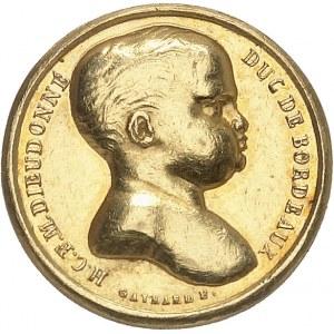 Henri V (1820-1883). Médaillette Or, le duc de Bordeaux en Hercule étouffant des serpents ND (1820), Paris.