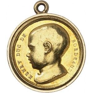 Henri V (1820-1883). Médaillette Or, à l'ancre brisée et au serpent à deux têtes ND (1820), Paris.