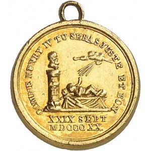 Henri V (1820-1883). Médaillette Or, comme Henri IV, le duc de Bordeaux sera juste et bon, par Caqué ND (1820), Paris.