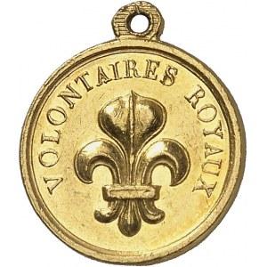 Henri V (1820-1883). Médaillette Or, les volontaires royaux ND (1820), Paris.