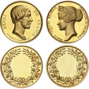 Henri V (1820-1883). Coffret de 2 médailles d'Or, mariage du Comte et de la Comtesse de Chambord, par R. Gayrard 1842.
