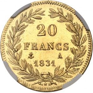Louis-Philippe Ier (1830-1848). 20 francs tête nue, tranche en relief 1831, A, Paris.
