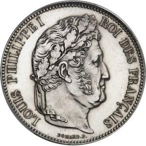 Louis-Philippe Ier (1830-1848). 5 francs tête laurée, Flan bruni (PROOF) 1834, A, Paris.