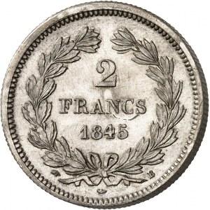 Louis-Philippe Ier (1830-1848). Piéfort de 2 francs 1845, B, Rouen.