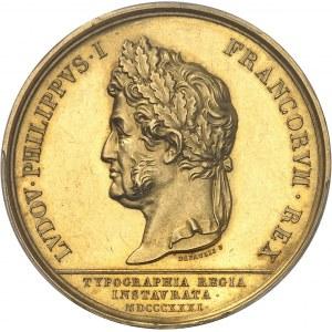 Louis-Philippe Ier (1830-1848). Médaille d'Or, restauration de la typographie 1831, Paris.