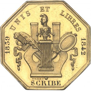 Louis-Philippe Ier (1830-1848). Jeton en Or de la Commission des auteurs dramatiques, attribué à Scribe 1839-1842, Paris.