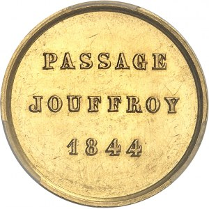 Louis-Philippe Ier (1830-1848). Jeton de présence en Or, pour le passage Jouffroy à Paris 1844, Paris.