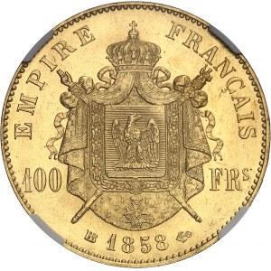 Second Empire / Napoléon III (1852-1870). 100 francs tête nue 1858, BB, Strasbourg.