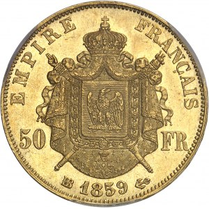 Second Empire / Napoléon III (1852-1870). 50 francs tête nue 1859, BB, Strasbourg.