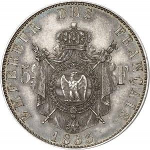 Second Empire / Napoléon III (1852-1870). Essai-piéfort de 5 francs tête nue par Bouvet 1853, Paris.