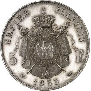 Second Empire / Napoléon III (1852-1870). Essai de 5 francs tête laurée par Bouvet 1853, Paris.