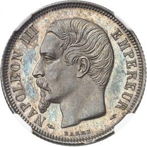 Second Empire / Napoléon III (1852-1870). 1 franc tête nue, Flan bruni (PROOF) 1853, A, Paris.