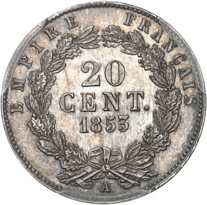 Second Empire / Napoléon III (1852-1870). Essai de 20 centimes tête nue, grosse tête, frappe Specimen 1853, A, Paris.