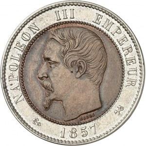 Second Empire / Napoléon III (1852-1870). 10 centimes tête nue, flan bimétallique 1857, B, Rouen.