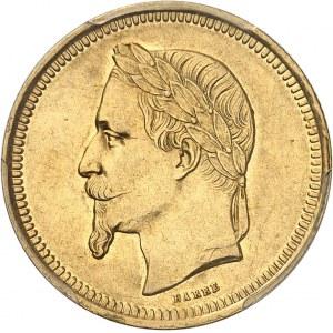 Second Empire / Napoléon III (1852-1870). Essai de 25 francs - 10 florins tête laurée par Barre 1867, Paris.