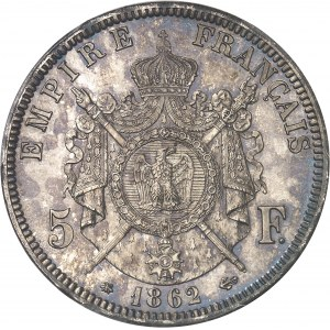 Second Empire / Napoléon III (1852-1870). 5 francs tête laurée 1862, A, Paris.