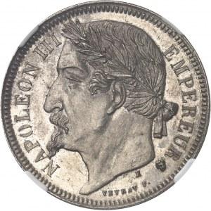 Second Empire / Napoléon III (1852-1870). Essai de 5 francs tête laurée par Veyrat 1870, E, Paris ou Bruxelles ?