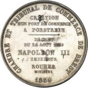 Second Empire / Napoléon III (1852-1870). Médaille, création du port de commerce de Porstrein près de Brest 1859, Paris.