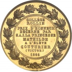 Second Empire / Napoléon III (1852-1870). Médaille d'Or, Prix d'Honneur du Collège Rollin, avec attribution 1866, Paris.
