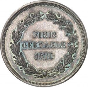 Second Empire / Napoléon III (1852-1870). Médaille monétiforme satirique au module de 5 francs, tranche striée 1870.