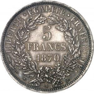 Gouvernement de Défense Nationale (1870-1871). 5 francs Cérès, avec légende 1870, A, Paris.