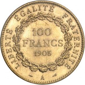 IIIe République (1870-1940). 100 francs Génie 1905, A, Paris.