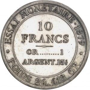 IIIe République (1870-1940). Essai de 10 francs Hercule, au rapport 1 à 15 1/2, composé d'un alliage d'une 5 francs argent et une 5 francs or 1879, Paris.