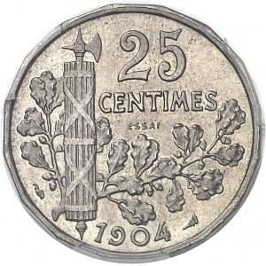 IIIe République (1870-1940). Essai de 25 centimes Patey 2e type à 16 pans 1904, Paris.