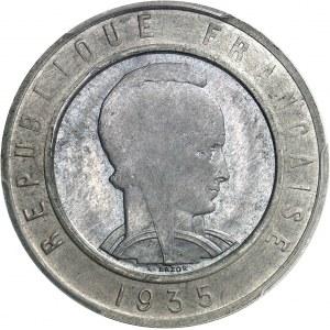 IIIe République (1870-1940). Essai de frappe uniface d'avers bimétallique (argent / aluminium) de 25 francs Bazor 1935, Paris.