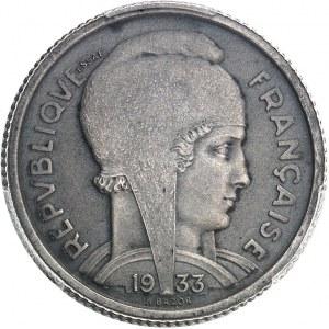 IIIe République (1870-1940). Essai de frappe uniface d'avers en argent de 5 francs Bazor 1933, Paris.
