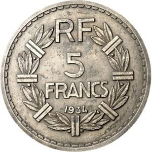 IIIe République (1870-1940). Paire d'épreuves de 5 francs Lavrillier, en galvanotypie 1934, Paris.