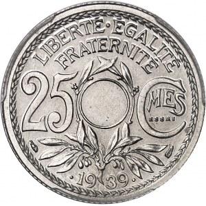 IIIe République (1870-1940). Essai de 25 centimes Lindauer en nickel, non perforé 1939, Paris.